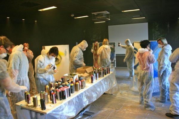 Graffiti workshop binnen